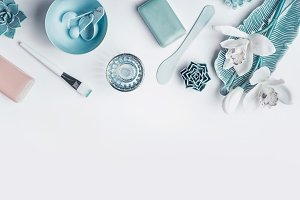 Blue cosmetic beauty setting