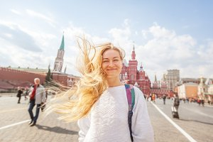 Blonde girl on Red Square