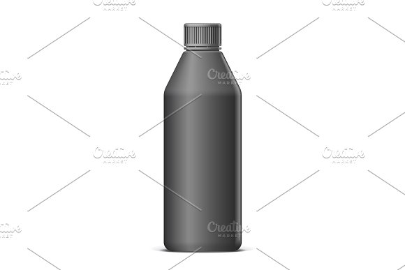 Cool Realistic Black Plastic Bottle