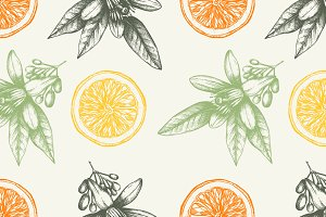 Vector Orange Fruits Patterns