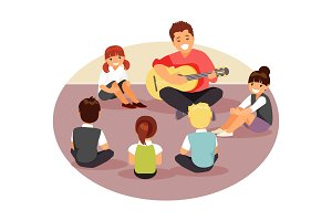Music teacher with children