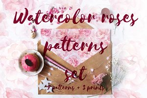 Watercolor roses patterns set