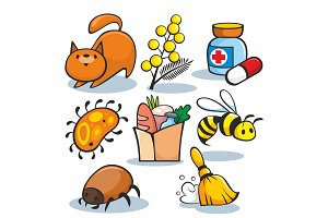 Cartoon Allergen Icons Set