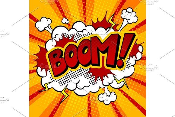 Boom Word Comic Book Pop Art Vector Illustration