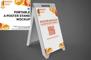 Portable A Poster Stand Mockup