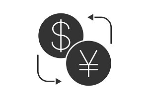 Dollar and yen currency exchange glyph icon