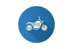 Motorbike flat design long shadow glyph icon