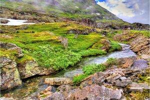 Landscape of the Geiranger valley near Dalsnibba mountain