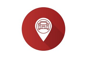 Map pinpoint with car inside flat design long shadow glyph icon