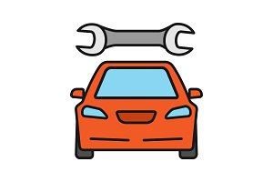 Car with spanner color icon