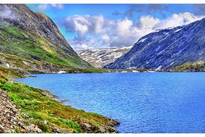 View of Djupvatnet lake lying 1016 metres above sea level - Norway