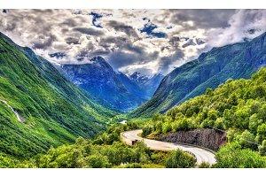 Road Rv15 in Norway near Stryn
