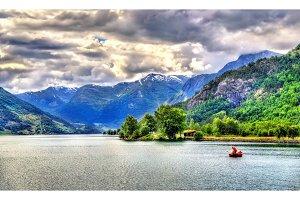 Oppstrynsvatn lake at Hjelle village, Norway