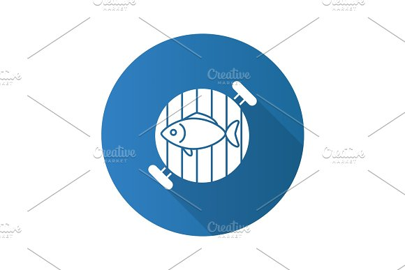 Fish On Barbecue Grill Flat Design Long Shadow Glyph Icon