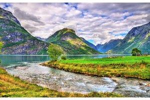 Oppstrynsvatn lake at Oppstryn village, Norway