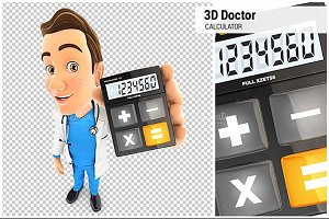 3D Doctor Holding Calculator