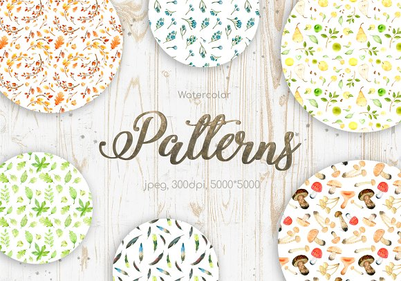 20 Watercolor Seamless Pattern