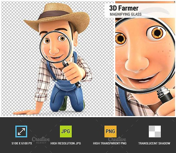 3D Farmer Looking Through A Glass