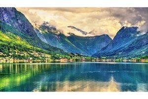 View of Nordfjorden fjord near Loen - Norway