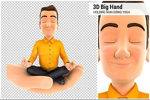 3D Hand Holding Man Doing Yoga