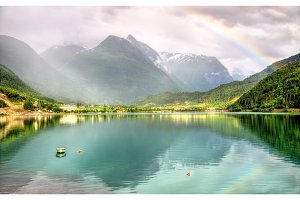 Rainbow above Nordfjorden fjord near Loen - Norway