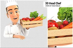 3D Head Chef Holding Wooden Crate
