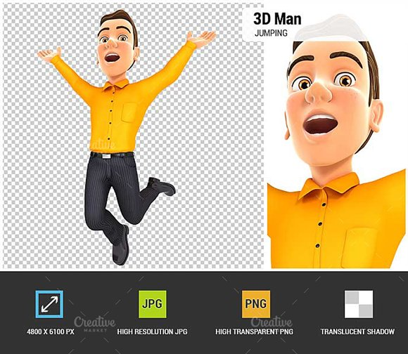 3D Man Is Jumping