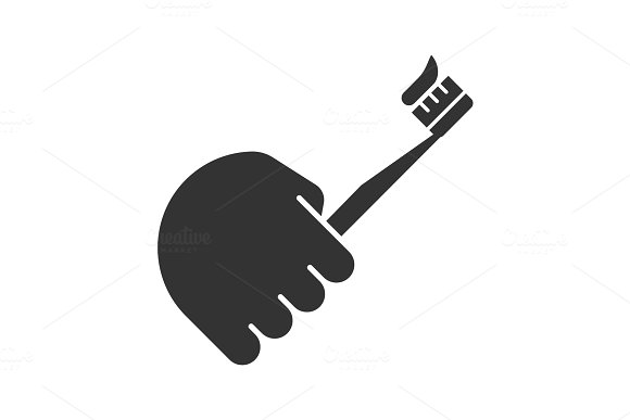 Hand Holding Toothbrush Glyph Icon