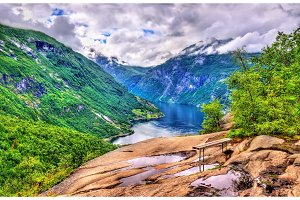 View of Geirangerfjord, UNESCO heritage site in Norway