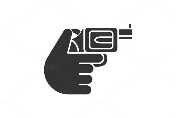 Hand Holding Revolver Glyph Icon