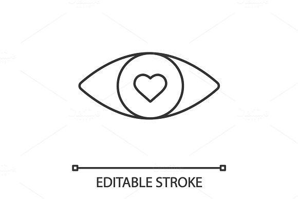 Human Eye With Heart Inside Linear Icon