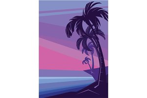 fantasy tropic ocean cost sunset with palm