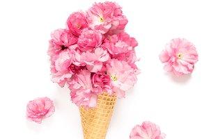 Cherry blossom ice cream waffle