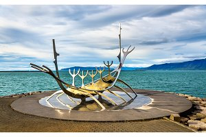 Sun Voyager sculpture at the seaside of Reykjavik
