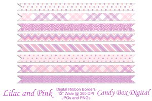 Lilac & Pink Ribbon Borders