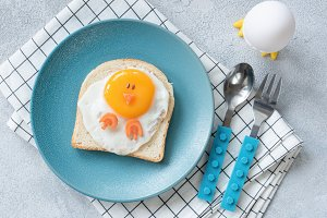 Funny egg toast for kids