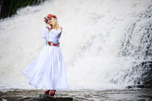 blonde girl in traditional dress