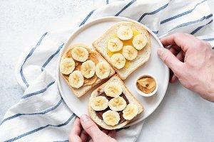 Vegan nut butter and banana toasts