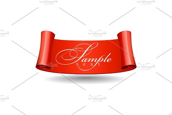 Realistic Red Glossy Ribbons Vector