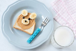 Teddy Bear PB and Banana toast
