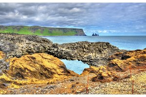 Natural basalt arch at Dyrholaey Cape - Iceland
