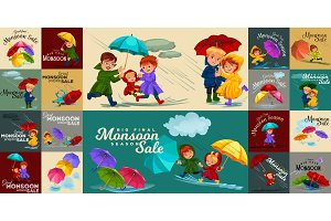 family husband and wife walking rain with umbrella in hands, raindrops dripping into puddles, dad and mom holding baby by hand, couple in love under raining clouds vector illustration