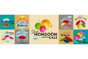 Sale banner, poster for Monsoon season raining drops, colorful umbrella in sky with text space background, wet weather template special offer Vector illustration.