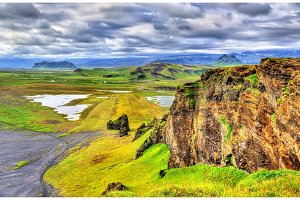 Landscape of South Iceland seen from Dyrholaey Peninsula
