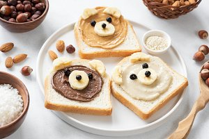 Vegan nut butter toasts for kids