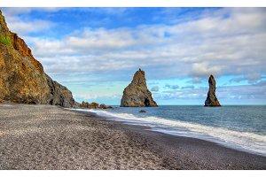 Reynisdrangar, basalt sea stacks in Iceland