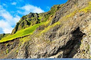 Reynisfjall Mountain at the black sand beach of Reynisfjara - Iceland