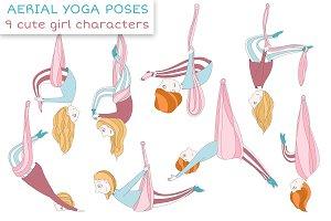 Aerial Yoga Poses Set