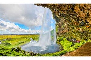 At the back of Seljalandsfoss waterfall - Iceland