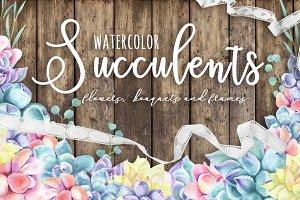 WATERCOLOR SUCCULENTS SET